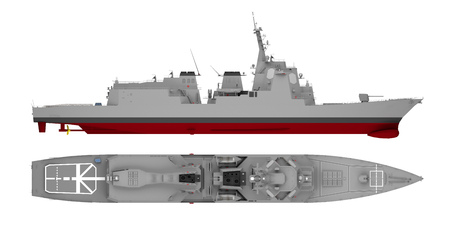 warship side view and top view isolated on white. 3d rendering Banco de Imagens