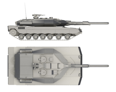 military tank side and top view isolated on white. 3d rendering