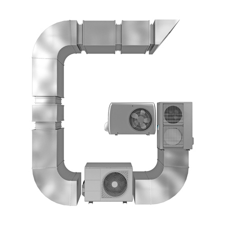 letter G of air conditioning and ventilation pipes. 3d rendering