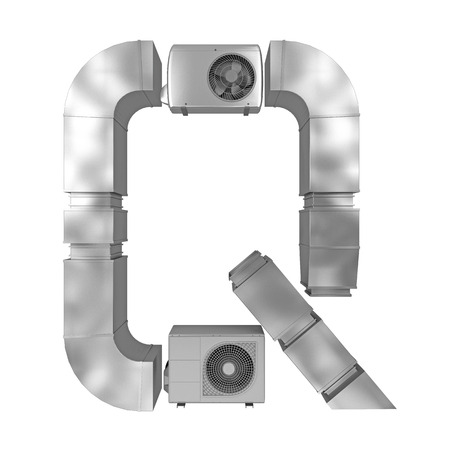 letter Q of air conditioning and ventilation pipes. 3d rendering Stock Photo
