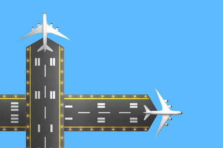 two runways with passenger aircraft top view. 3d rendering