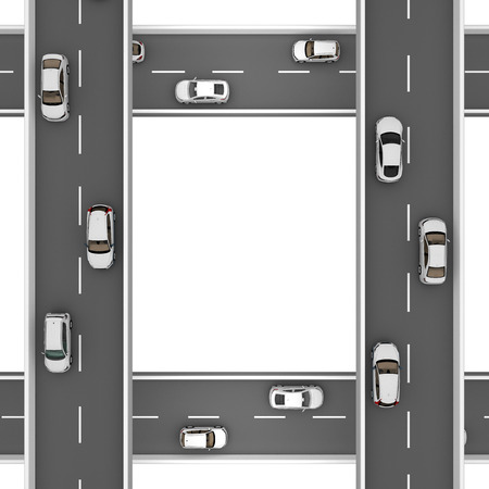 roads with white cars at right angles at different heights. 3d rendering