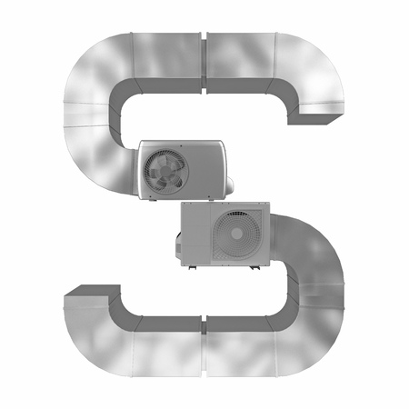 letter S of air conditioning and ventilation pipes. 3d rendering
