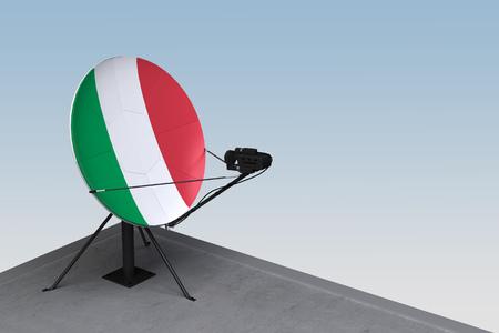 antena satelitarna z flagą Włoch. renderowanie 3d
