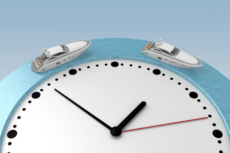 two boats floats around edge of the watch. 3d rendering Stock fotó