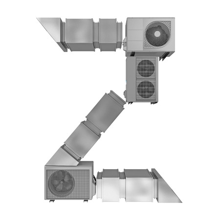 letter Z of air conditioning and ventilation pipes. 3d rendering