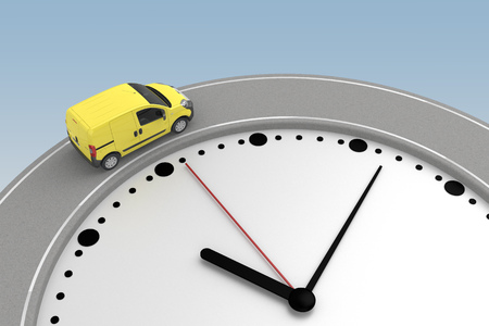 yellow van rides around edge clock. 3d rendering