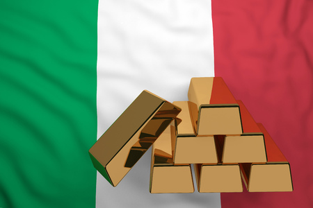 gold bars on flag Italy. 3d rendering