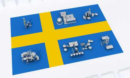 industrial plants on flag Sweden. 3d rendering