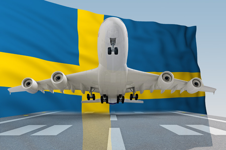 airplane taking off against the background of the flag Sweden. 3d rendering