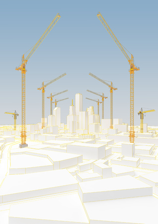 group of cranes in low poly city. 3d rendering Imagens