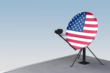 satellite dish with the flag of USA. 3d rendering Banco de Imagens