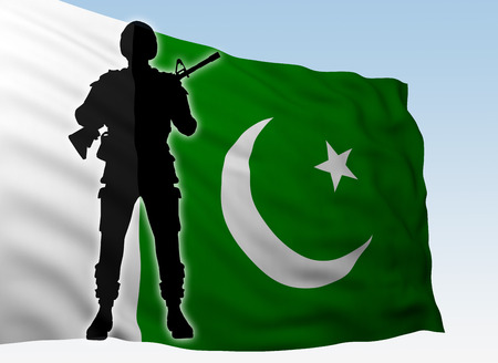 silhouette soldier against flag Pakistan. 3d rendering