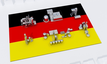 industrial plants on flag Germany. 3d rendering
