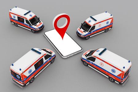 Krankenwagen-Band mit Smartphone und Pin-Marker. 3D-Rendering