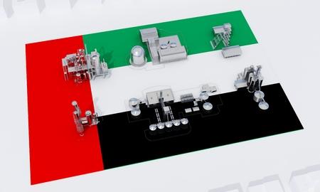 industrial plants on flag UAE. 3d rendering