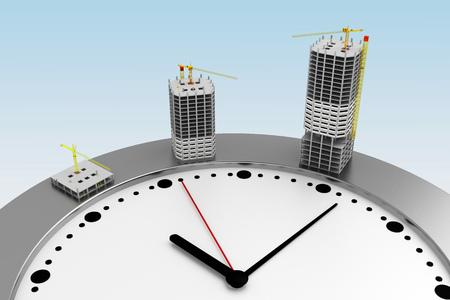 multi-storey building is built on clock. 3d rendering