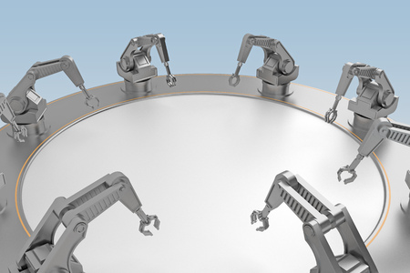 concept of working hands of robots. 3d rendering