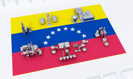 industrial plants on flag Venezuela. 3d rendering