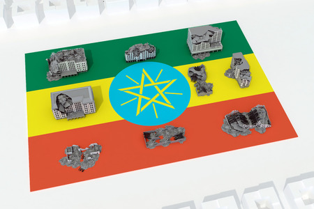 destroyed buildings on flag of country ethiopia. 3d rendering