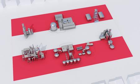 industrial plants on flag Austria. 3d rendering