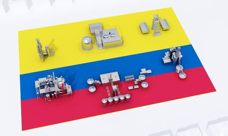 industrial plants on flag Colombia. 3d rendering Banco de Imagens