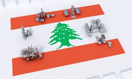 industrial plants on flag Lebanon. 3d rendering