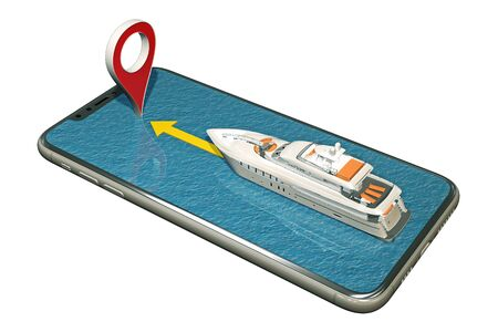 boat floats on the smartphone to marker pin. 3d rendering