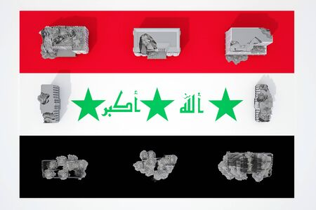 destroyed buildings on flag of country Iraq. 3d rendering