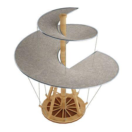 invención helicóptero Leonardo da Vinci aislado en blanco. Representación 3d