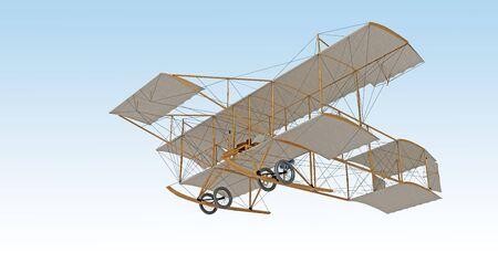 invenzione primo aereo isolato su bianco. rendering 3d