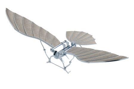 invention of aircraft of Leonardo da Vinci isolated on white