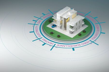 modern smart house with infographics