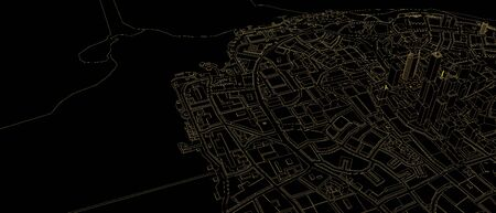 black low poly city with orange outlines Stock Photo
