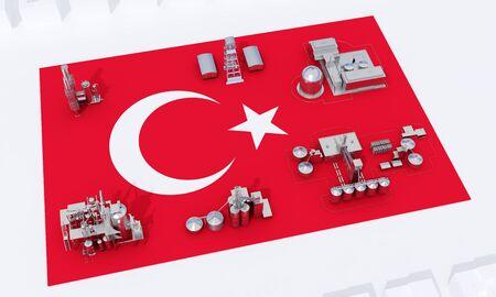 industrial plants on flag Turkey. 3d rendering 版權商用圖片