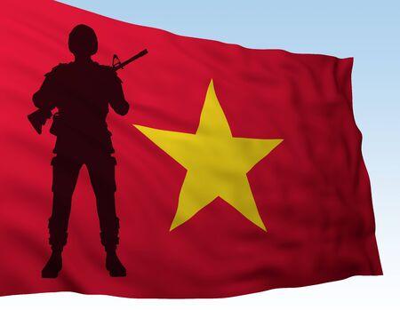 silhouette soldier against flag Vietnam. 3d rendering