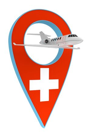 private airplane with pin navigation flag Switzerland
