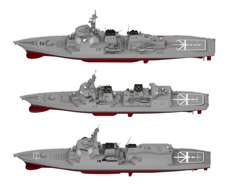 collection of warships isolated on white. 3d rendering