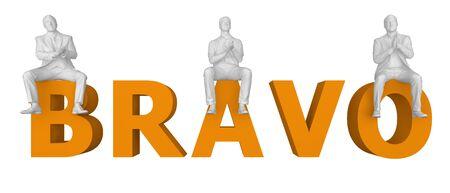 people sit applauding in letters bravo. 3d rendering