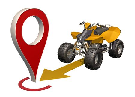 ATV rides to map marker. 3d rendering