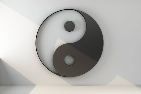 yin yang symbol on the wall. 3d rendering