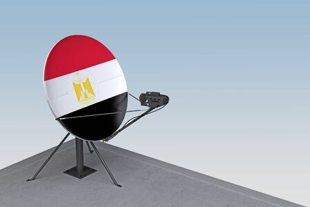satellite dish with the flag of Egypt. 3d rendering