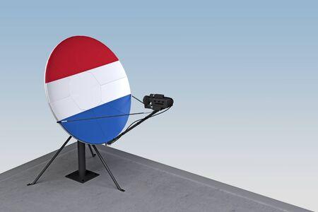 satellite dish with the flag of Netherlands. 3d rendering Zdjęcie Seryjne