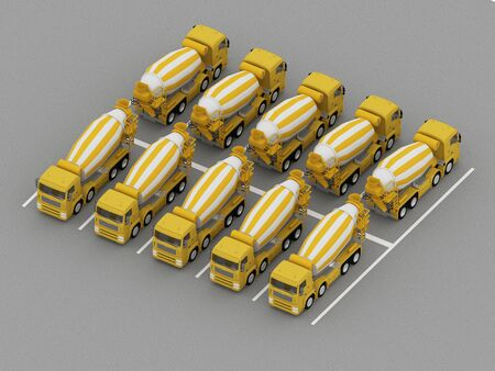 truck parking with concrete mixers. 3d rendering 写真素材