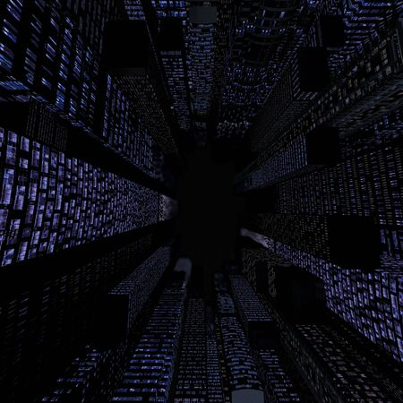 Background of skyscrapers at night. Top view. 3d rendering