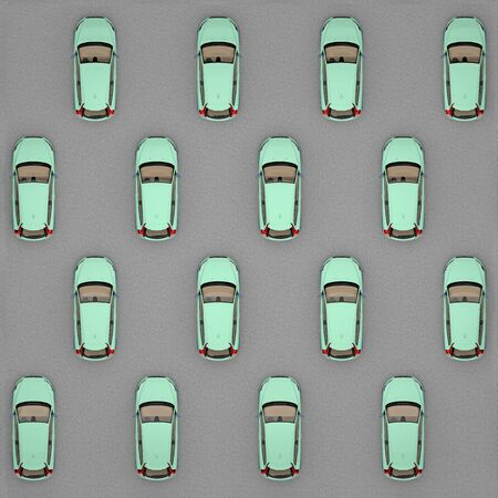 green cars staggered top view. 3d rendering