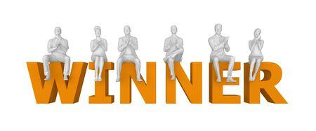 people sit applauding in letters winner. 3d rendering Stock Photo