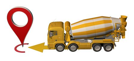 concrete mixer truck goes to map pin. 3d rendering 写真素材