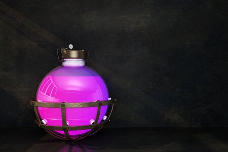 spherical flask with pink liquid on a dark background. 3d rendering 写真素材