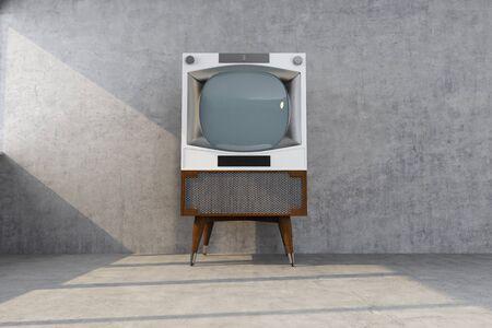 retro tv lit by the sun. 3d rendering